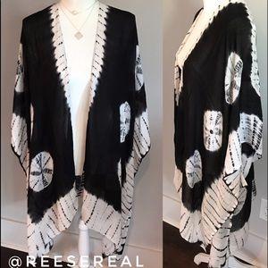 Restocked!! Black & White Boho Tye Dye Kimono
